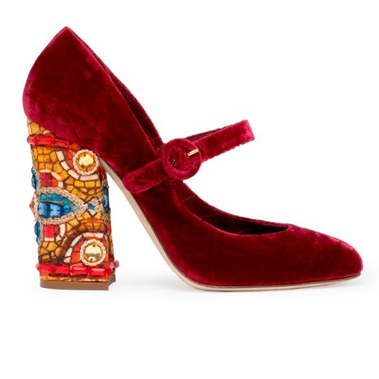 Dolce And Gabbana Red Velvet Shoes